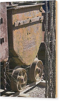 Old Mining Car Wood Print