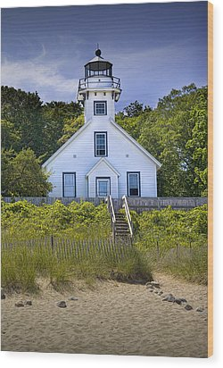 Old Mission Point Lighthouse In Grand Traverse Bay Michigan Number 2 Wood Print by Randall Nyhof