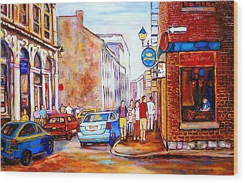 Old Montreal Paintings Calvet House And Restaurants Wood Print by Carole Spandau