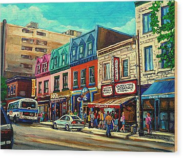 Old Montreal Schwartzs Deli Plateau Montreal City Scenes Wood Print by Carole Spandau