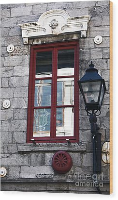Old Montreal Window Wood Print by John Rizzuto