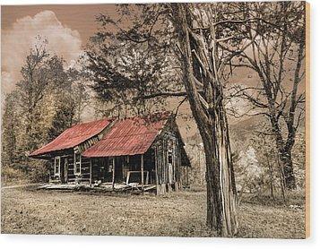 Old Mountain Cabin Wood Print by Debra and Dave Vanderlaan