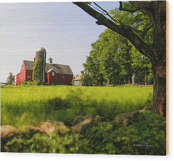 Old New England Farm Wood Print by Elzire S