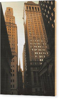 Old New York Wall Street Wood Print