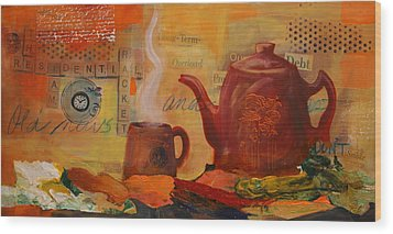 Old News And Breakfast Wood Print by Lynn Chatman