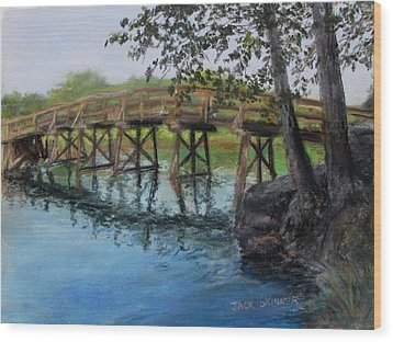 Wood Print featuring the painting Old North Bridge In Pastel by Jack Skinner