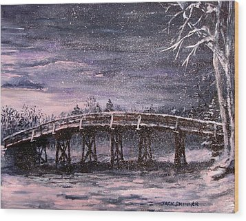 Old North Bridge In Winter Wood Print by Jack Skinner