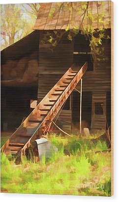 Wood Print featuring the photograph Old North Carolina Barn And Rusty Equipment   by Wilma Birdwell