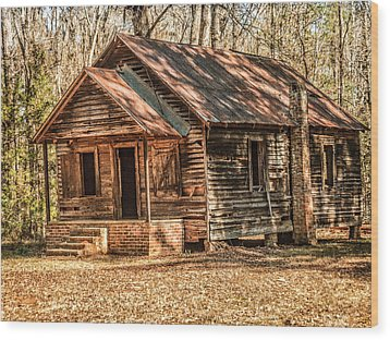 Old One Room School House Wood Print by Phillip Burrow