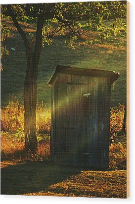 Old Outhouse At Sunset Wood Print