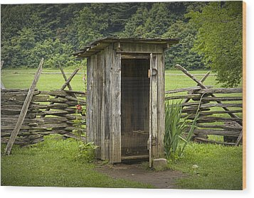 Old Outhouse On A Farm In The Smokey Mountains Wood Print