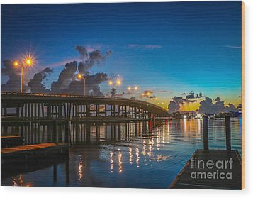 Old Palm City Bridge Wood Print by Tom Claud