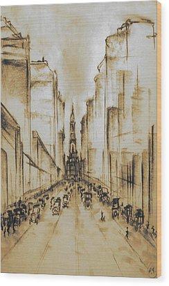Old Philadelphia City Hall 1920 - Vintage Art Wood Print