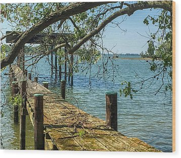 Old Pier On The Tred Avon Wood Print