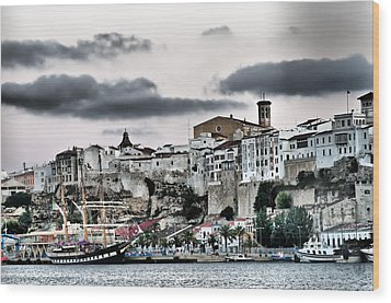 Old Port Mahon And Italian Sail Training Vessel Palinuro Hdr Wood Print