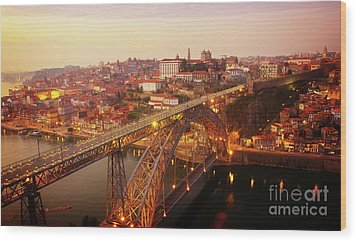 old Porto at  Pink Sunset, Portugal Wood Print
