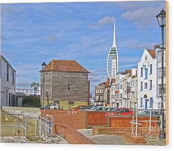 Old Portsmouth Flood Gates Wood Print by Terri Waters