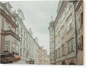 Wood Print featuring the photograph Old Prague Buildings. Staromestska Square by Jenny Rainbow