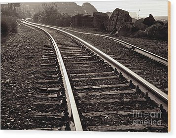 Wood Print featuring the photograph Old Railroad Running Along The Sea Shore by Yurix Sardinelly