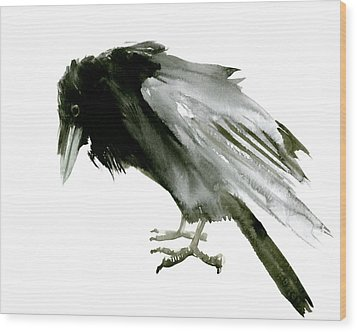 Old Raven Wood Print by Suren Nersisyan