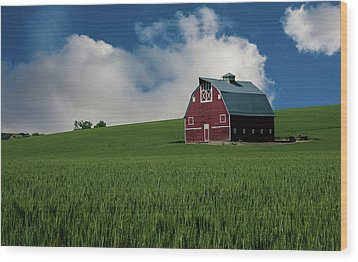 Old Red Barn In The Palouse Wood Print by James Hammond