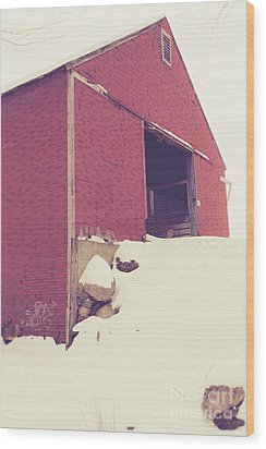 Wood Print featuring the photograph Old Red Barn In Winter by Edward Fielding