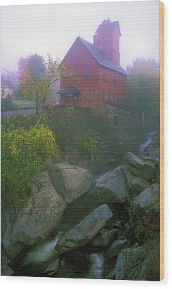 Old Red Mill Jericho Vermont Wood Print by John Burk