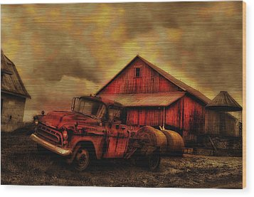 Old Red Truck And Barn Wood Print by Bill Cannon