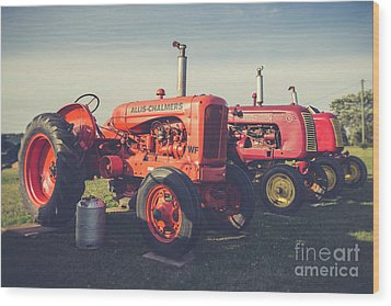 Old Red Vintage Tractors Prince Edward Island  Wood Print by Edward Fielding