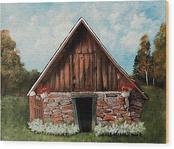 Wood Print featuring the painting Old Root House by Anastasiya Malakhova