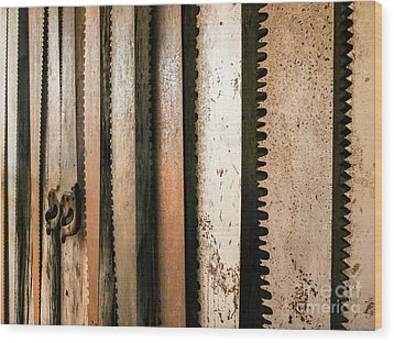 Retired Rusted Saws Wood Print by Lexa Harpell