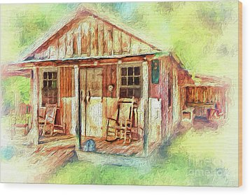 Wood Print featuring the painting Old Rustic House In The Mountains Ap by Dan Carmichael
