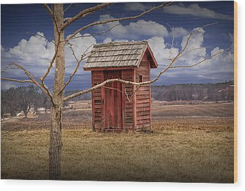 Old Rustic Wooden Outhouse In West Michigan Wood Print