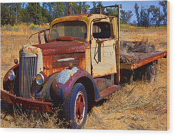 Old Rusting Flatbed Truck Wood Print by Garry Gay