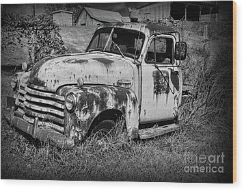 Old Rusty Chevy In Black And White Wood Print by Paul Ward