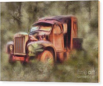 Old Rusty Truck In The Woods - Jocassee Ap Wood Print by Dan Carmichael