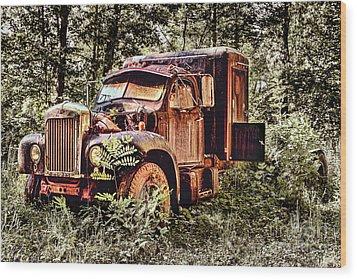 Old Rusty Truck In The Woods - Jocassee Wood Print by Dan Carmichael