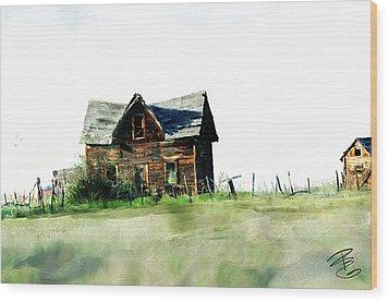 Old Sagging House Wood Print by Debra Baldwin