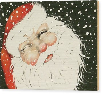 Old Saint Nick Wood Print by Paula Weber