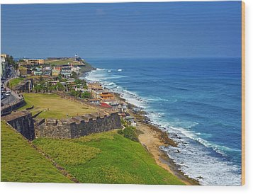 Old San Juan Coastline Wood Print by Stephen Anderson