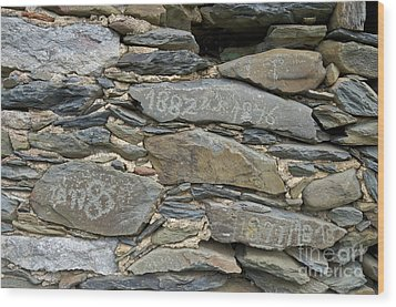 Old Schist Wall With Several Dates From 19th Century. Portugal Wood Print by Angelo DeVal