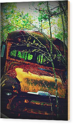 Old School Bus Wood Print by Dana  Oliver