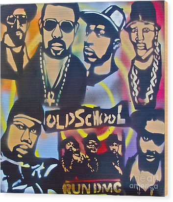 Old School Hip Hop 3 Wood Print by Tony B Conscious