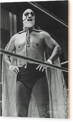 Old School Masked Wrestler Luchador Wood Print