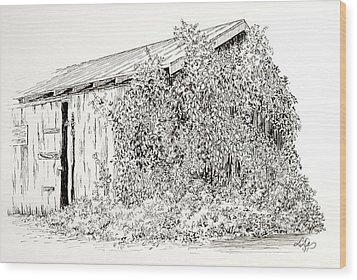 Old Shed Wood Print by Deborah Dallinga