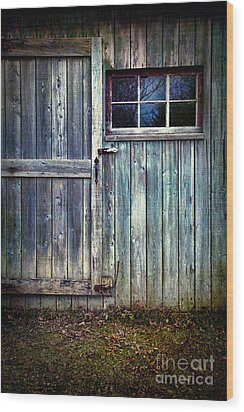 Old Shed Door With Spooky Shadow In Window Wood Print by Sandra Cunningham