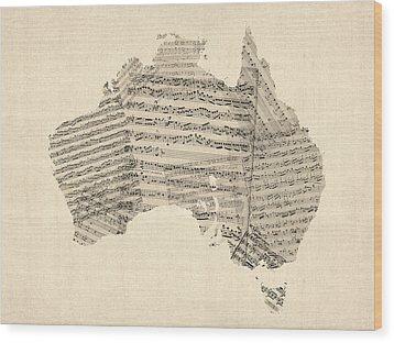 Old Sheet Music Map Of Australia Map Wood Print by Michael Tompsett