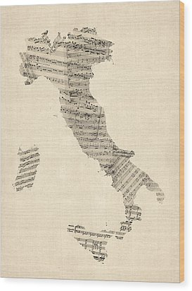 Old Sheet Music Map Of Italy Map Wood Print by Michael Tompsett