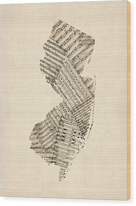 Old Sheet Music Map Of New Jersey Wood Print by Michael Tompsett