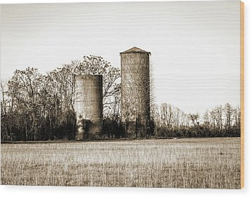 Old Silos Wood Print by Barry Jones